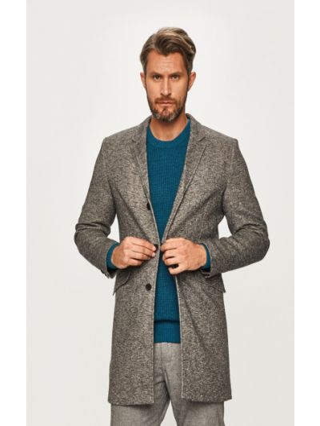 С рукавами серое пальто с карманами Only & Sons