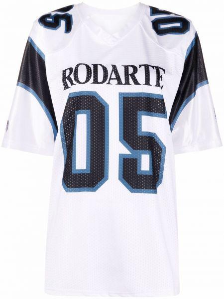 Biały t-shirt krótki rękaw z printem Rodarte