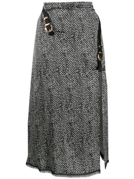 Юбка миди с завышенной талией с бахромой Versace