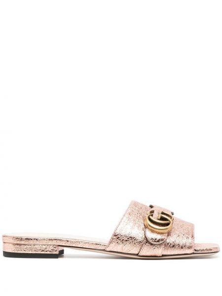 Otwarty różowy skórzany sandały otwarty palec u nogi Gucci