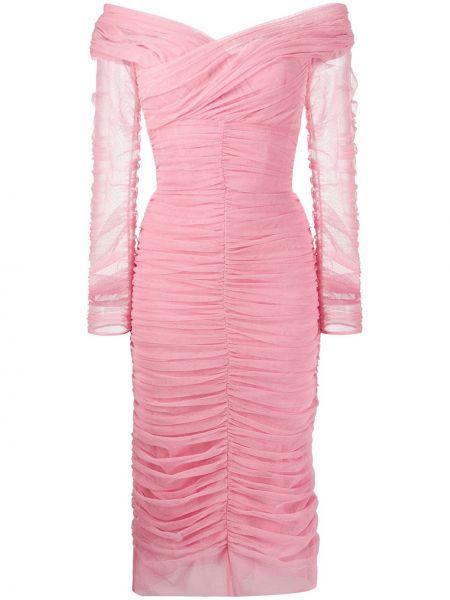 Платье миди розовое облегающее Dolce & Gabbana