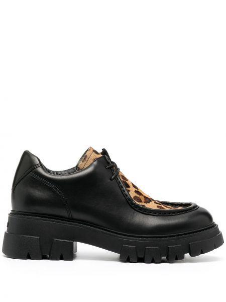 Koronkowa czarny buty brogsy z prawdziwej skóry na sznurowadłach Ash