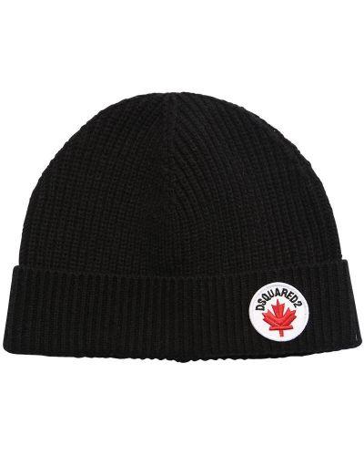 Bawełna wełniany czarny kapelusz z łatami Dsquared2