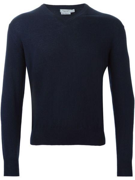 Кашемировый синий свитер с V-образным вырезом Fashion Clinic Timeless