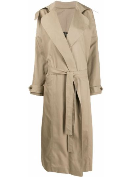 Прямое бежевое длинное пальто с поясом Preen By Thornton Bregazzi