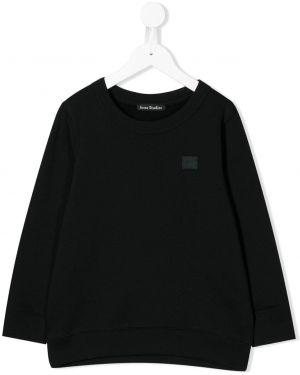 Czarna bluza z haftem bawełniana Acne Studios Kids