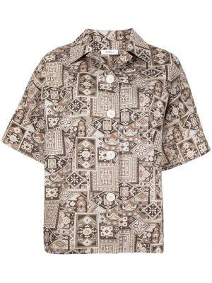 Хлопковая классическая рубашка с короткими рукавами с воротником Goen.j