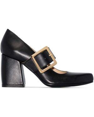 Черные кожаные туфли с пряжкой Roker