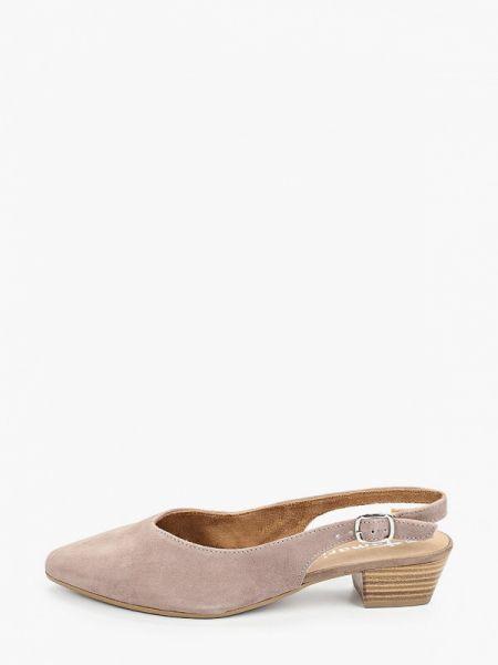 Замшевые туфли с открытой пяткой розовый Tamaris