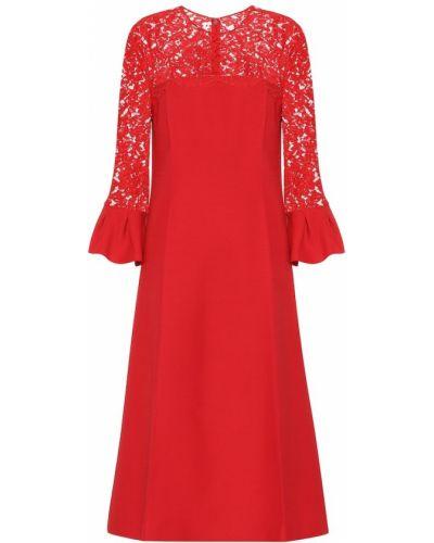 Вечернее платье шелковое с кружевными рукавами Valentino