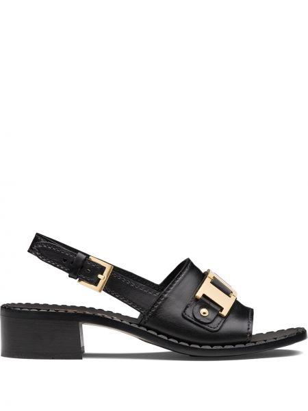 Czarne złote sandały klamry Prada