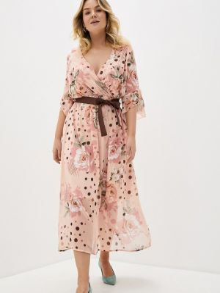 Платье с запахом бежевое Kitana By Rinascimento