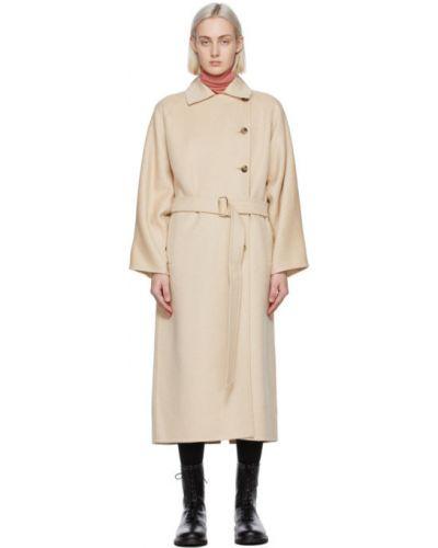 Шерстяное бежевое длинное пальто с воротником Max Mara