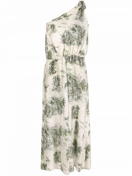 Шелковое зеленое платье с разрезом с принтом Diega