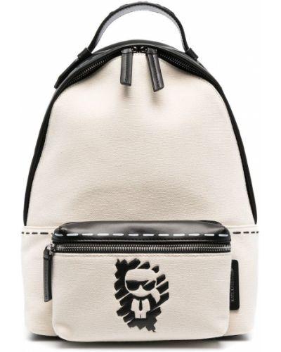 Кожаная белая сумка на молнии Karl Lagerfeld