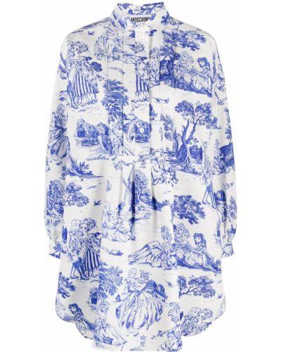 Классическое плиссированное платье мини на пуговицах с воротником Moschino