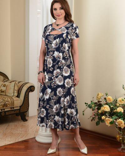 С рукавами летнее платье на молнии с вырезом из вискозы Salvi-s