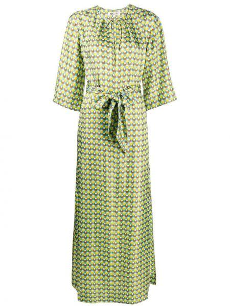 Зеленое прямое шелковое платье с завязками Dvf Diane Von Furstenberg