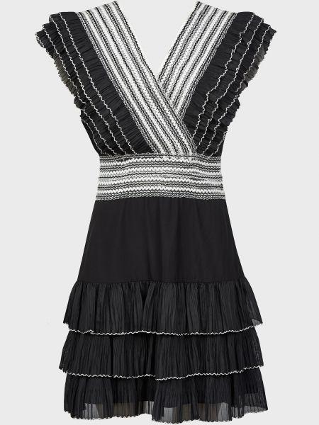 Хлопковое черное платье на молнии Silvian Heach