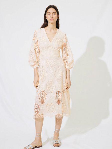 Повседневное платье бежевое весеннее Maje