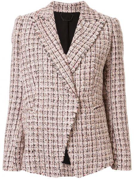 Розовая куртка с бахромой твидовая на пуговицах Elie Tahari