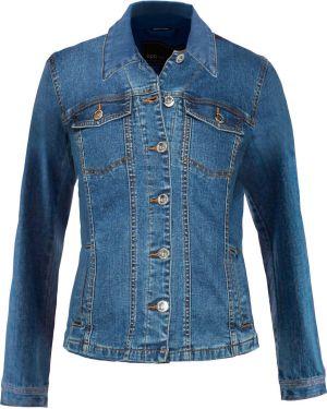 Джинсовая куртка на пуговицах - синяя Bonprix