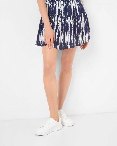 Niebieska spódnica mini rozkloszowana z wiskozy Orsay