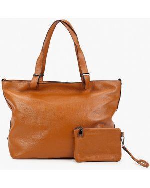 Кожаная сумка с ручками коричневый Mallanee
