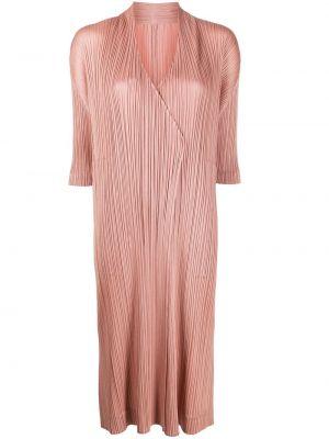 Пальто с разрезами по бокам - розовое Pleats Please Issey Miyake