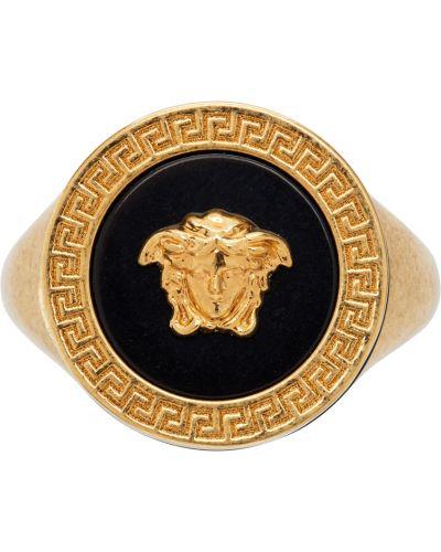 Кольцо с узором - черное Versace