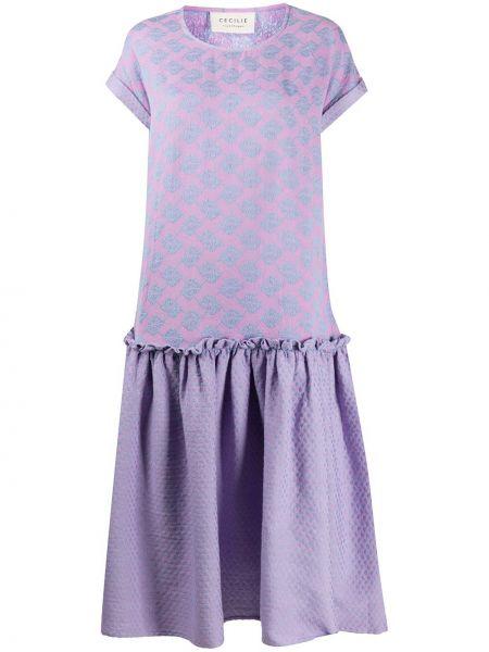 Фиолетовое платье с рукавами с короткими рукавами круглое с круглым вырезом Cecilie Copenhagen
