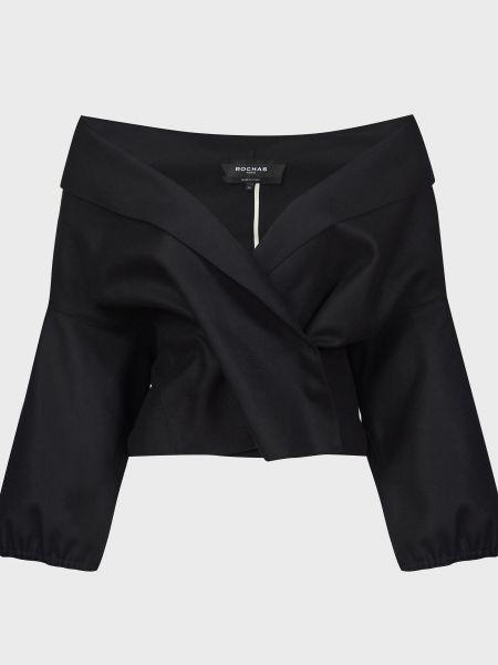 Шерстяной черный пиджак на кнопках Rochas