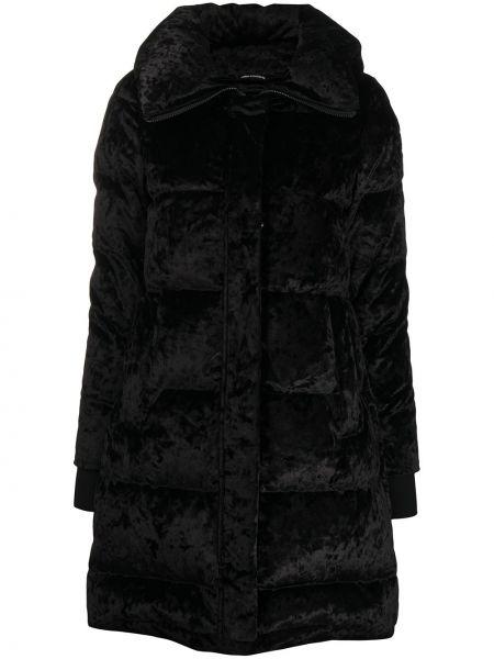 Черное длинное пальто на молнии с перьями Moose Knuckles