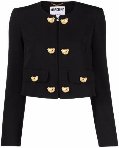 Шелковый черный удлиненный пиджак на пуговицах Moschino