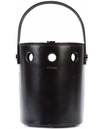 Кожаная черная сумка-тоут Perrin Paris