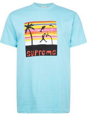 Niebieski t-shirt krótki rękaw bawełniany Supreme