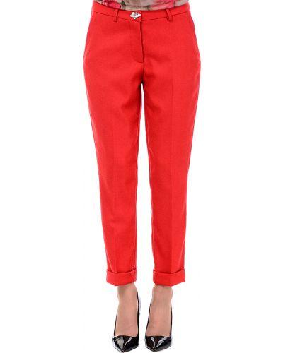 Красные брюки шерстяные Love Moschino