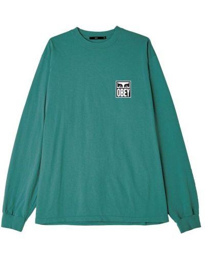 Зеленая футболка с длинными рукавами Obey