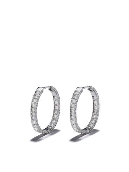 Серебряные серьги-кольца с бриллиантом Loree Rodkin