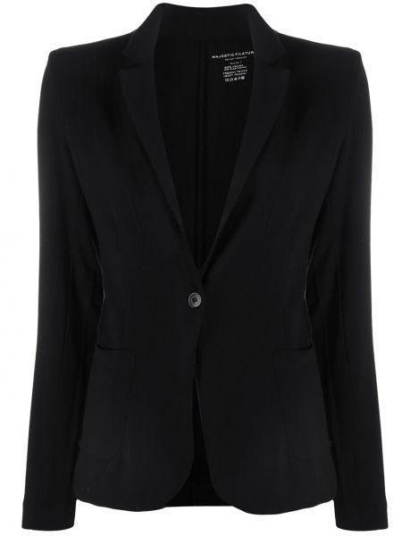 Однобортный черный пиджак из вискозы Majestic Filatures