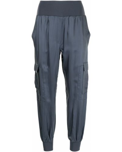 Хлопковые синие брюки карго с карманами Cinq À Sept