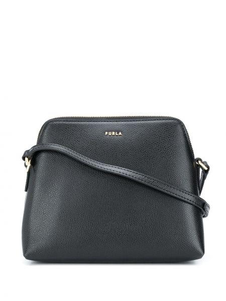 Кожаная черная сумка через плечо на молнии Furla
