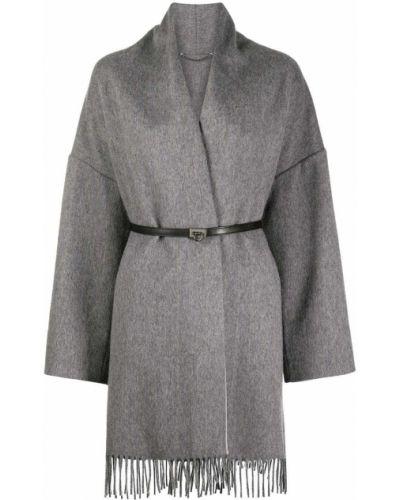 Серое кашемировое пальто с запахом Salvatore Ferragamo