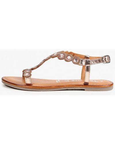 Кожаные сандалии золотые Tamaris