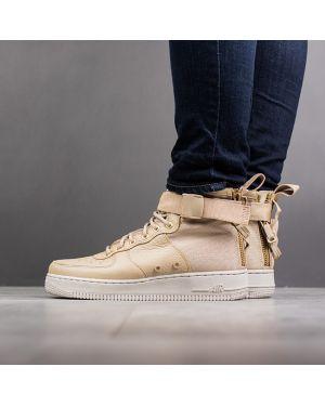 Высокие кроссовки текстильные бежевые Nike