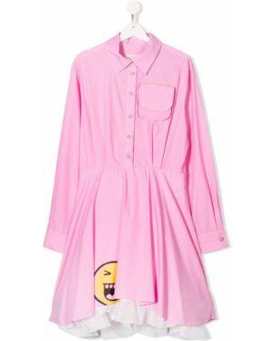 Расклешенное розовое платье с рукавами на пуговицах с воротником Natasha Zinko Kids