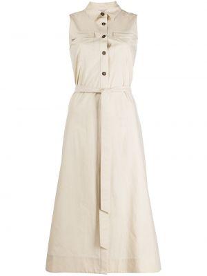 Бежевое платье-рубашка без рукавов с воротником Antonelli