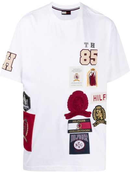 Белая хлопковая прямая футболка с нашивками Hilfiger Collection