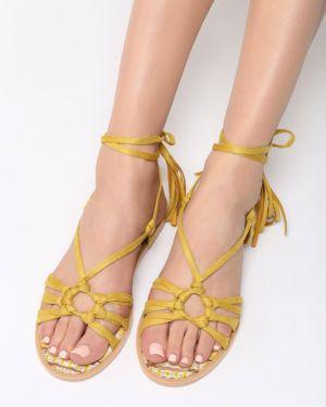 Żółte sandały materiałowe Multu