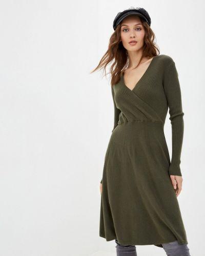 Трикотажное зеленое вязаное платье By Swan
